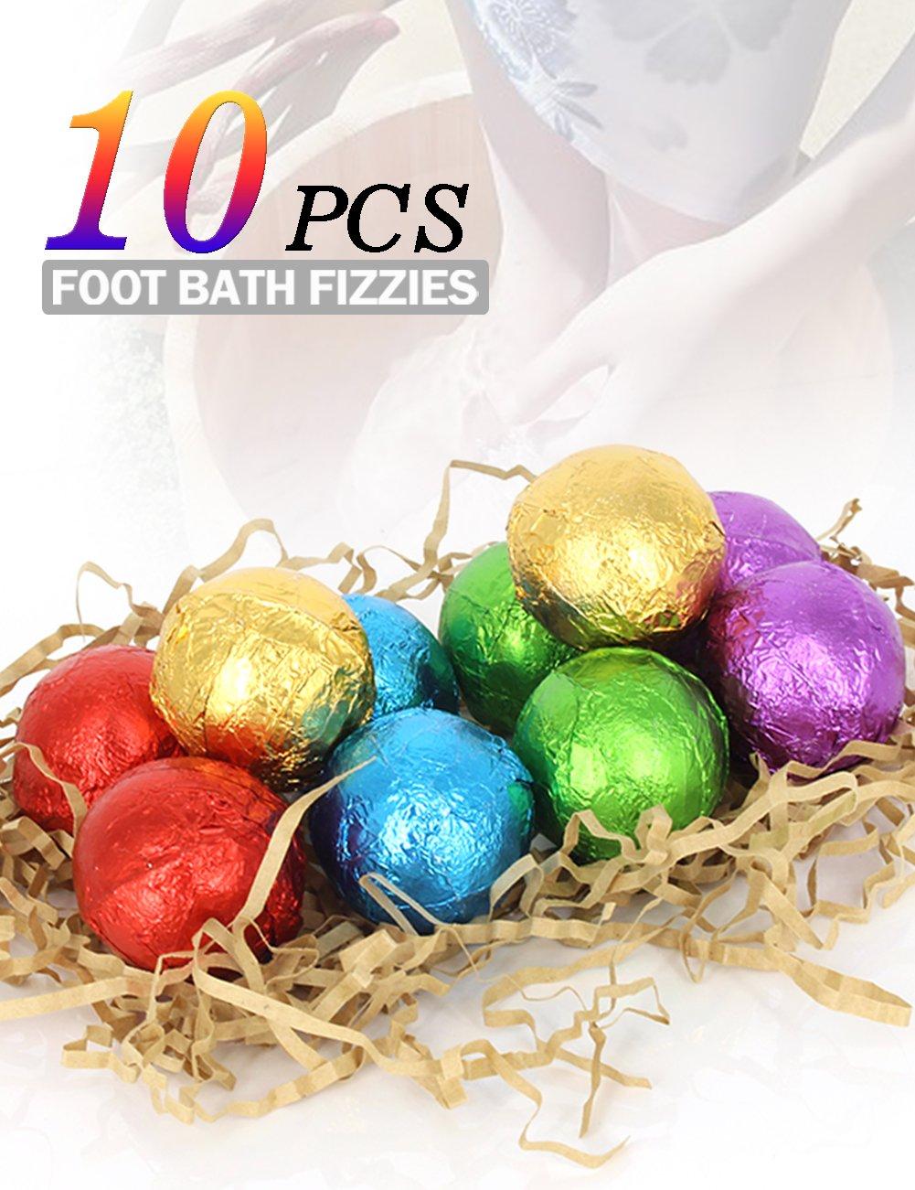 BMK Foot Soak Bath Bombs Essential Oil Feet Spa Soap All Natural Organic Bath Salt Fizzies Eliminates Odors Softens Dry Calluses Detox Tired Feet (10PCS)