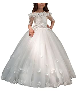 0290ae73e Magicdress - Vestido de Encaje para niña con diseño de Flores para Boda y  Hombro