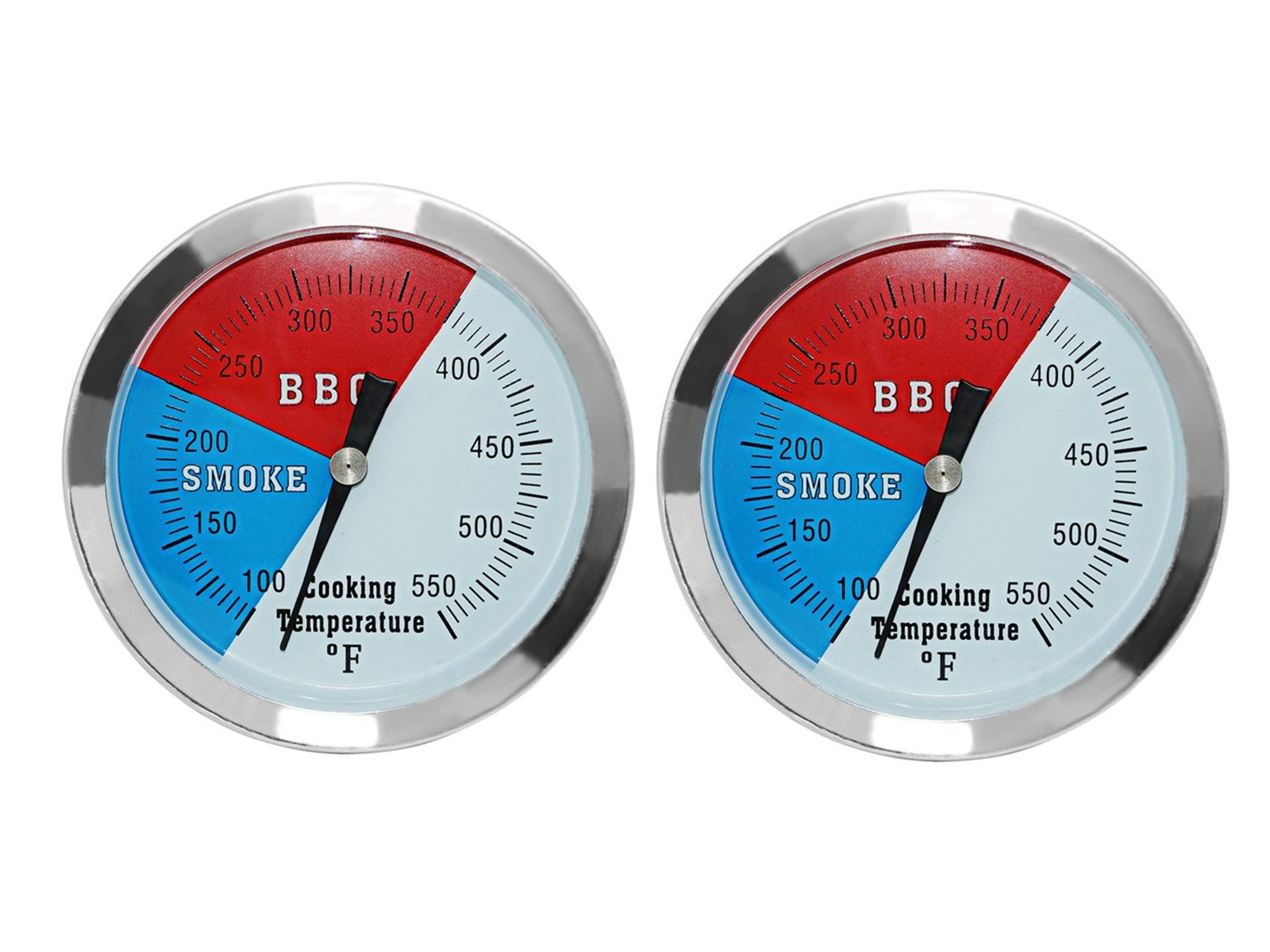 DOZYANT (2 Pack 3 1/8'' Larger Face 550F BBQ Barbecue Charcoal Grill Pit Wood Smoker Temp Gauge Grill Thermometer 3'' Stem Stainless Steel RWB
