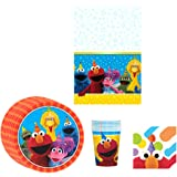 Elmo Sesame Street Birthday Party Supplies Pack Bundle Kit Including Plates, Cups, Napkins and Tablecover - 8 Guests