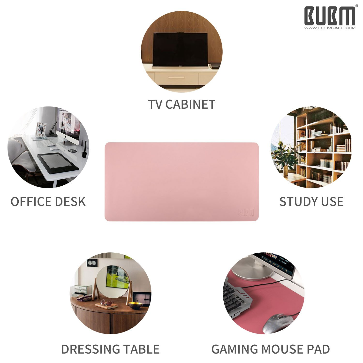 Desk Pad Mouse Pad/Mat - BUBM Large Gaming Mouse Pad Desktop Pad Protector PU Leather Laptop pad for Office and Home,Waterproof and Smooth,2 Year Warranty(35.4'' 17.7'', Pink+Silver) by BUBM (Image #6)