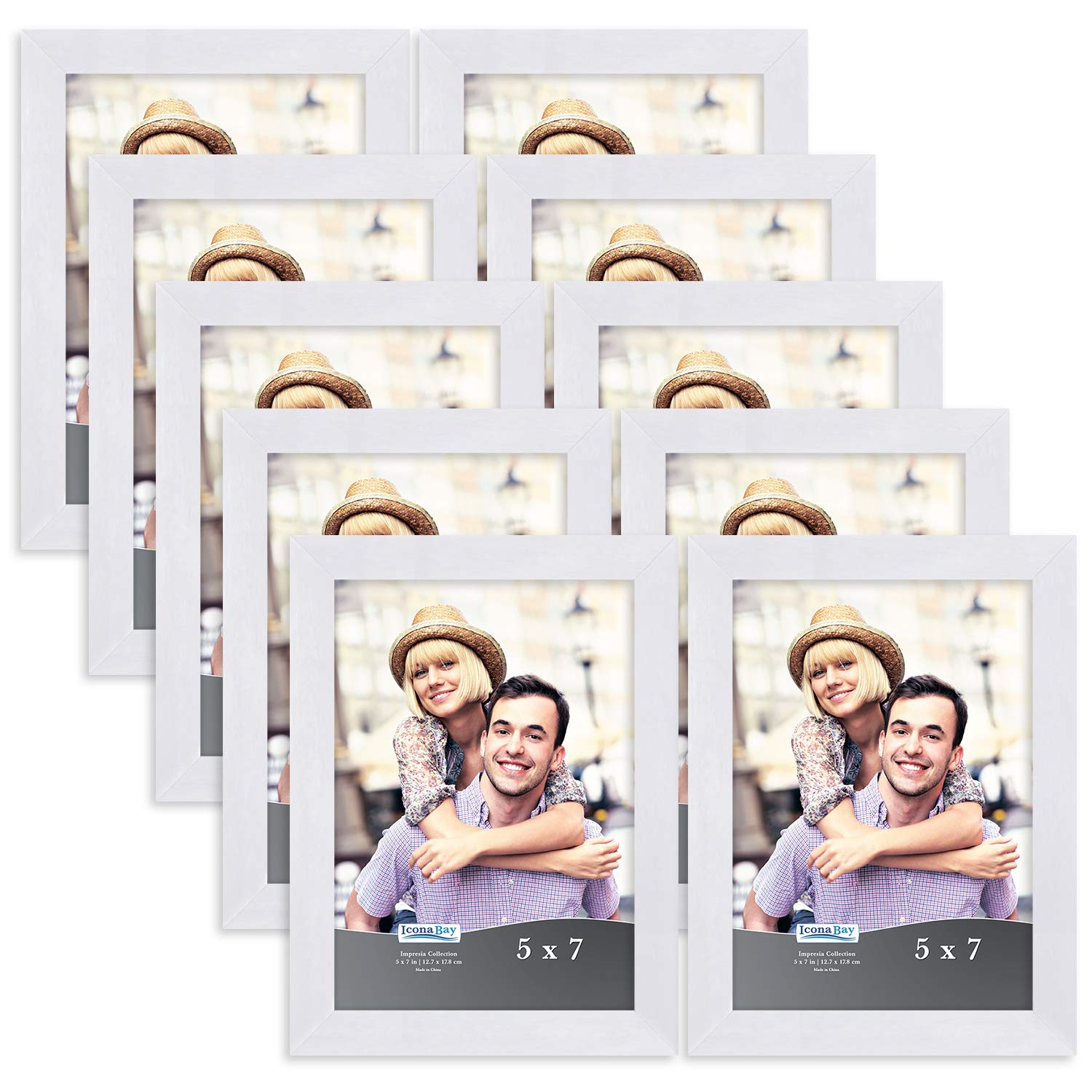 Icona Bay 5x7 Picture Frame Set (10 Pack, White) 5x7 Frame, Tabletop and Wall Hang Hardware Included with Photo Frames, Impresia Collection by Icona Bay