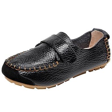 rismart Niño Niña Clásico Gancho y Lazo Ponerse Cuero Oxford Plano Mocasines Zapatos SN03347(Negro