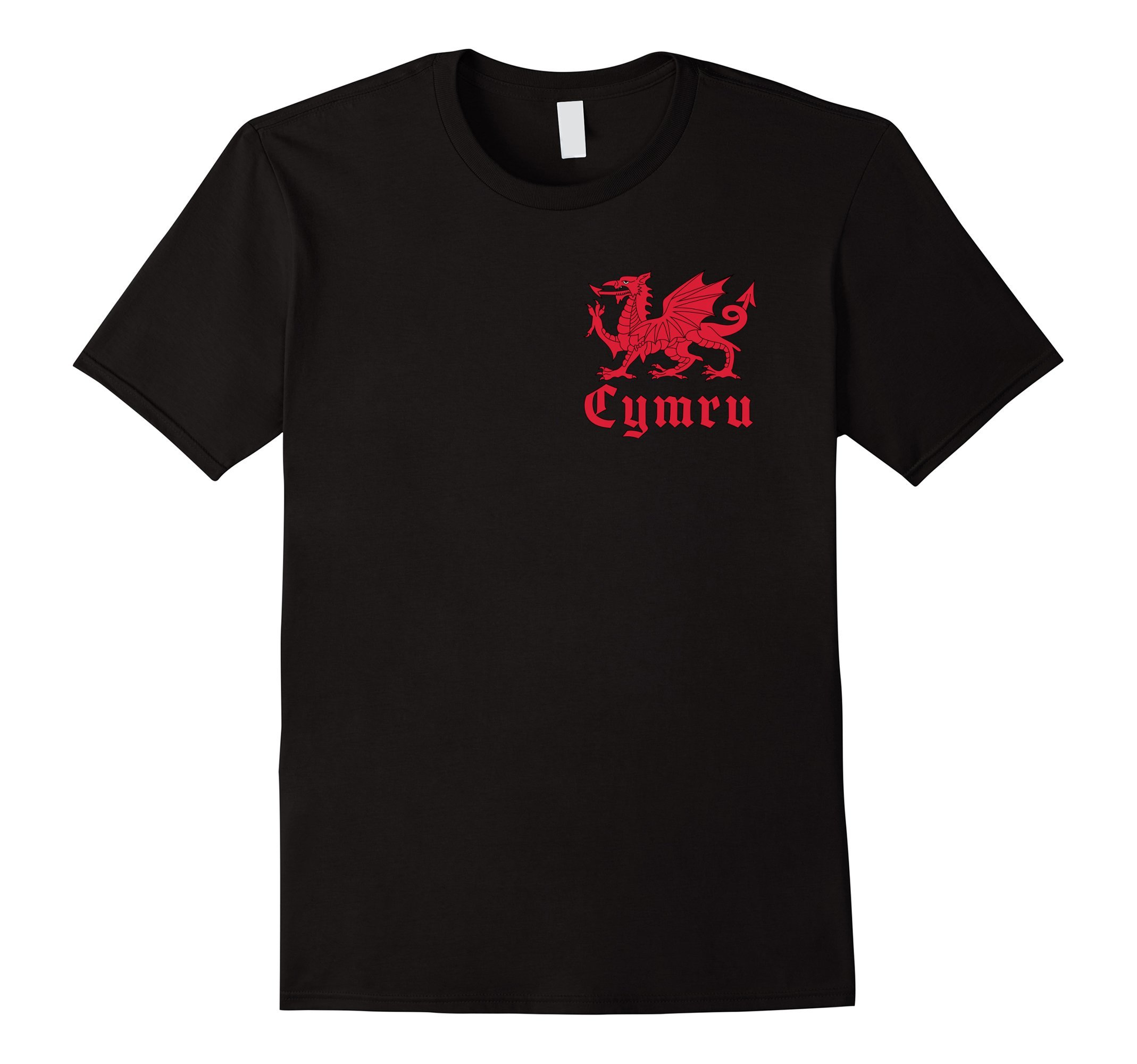 Mens Cymru Red Dragon of Wales Flag T-Shirt - Dark colors option Large Black