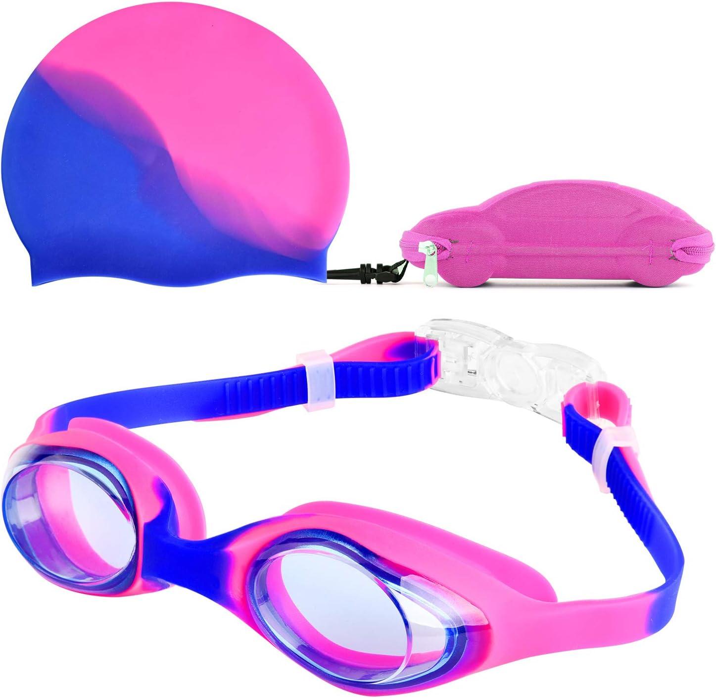 Reignet Gafas de natación, Gafas de natación para niños a Prueba de Fugas y a Prueba de Niebla, Puente de Nariz Flexible, diseño Ajustado 3D, para niños y Adolescentes (4-15 años)
