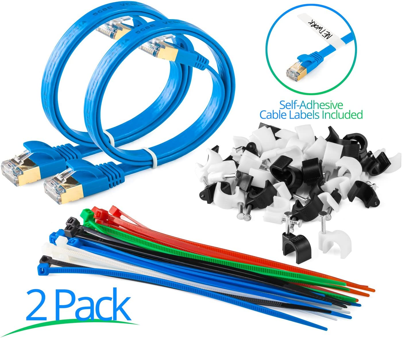 Maximm Cat7 Flat Ethernet Cable for Computers Network Components 5 Pack 600 MHz Pure Copper RJ45 Gold-Plated Connectors 12 Feet Blue