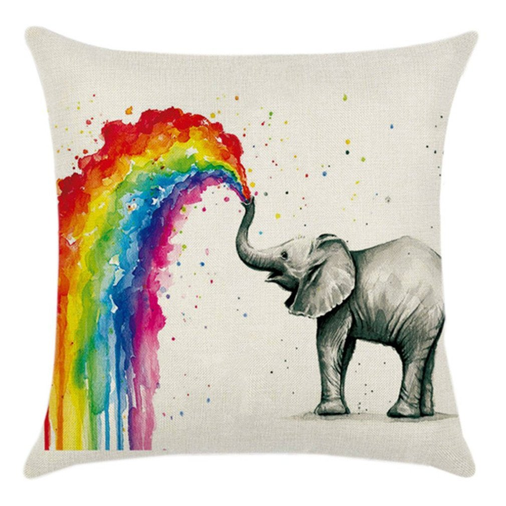 HENGSONG Elephant Printed Pillow Case Colorful Linen Throw Pillow Cover Cushion Cover PillowCase Home Decor Mei_mei9