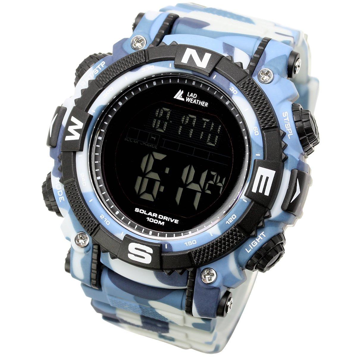 [Lad Weather] energía Solar Digital reloj Militar camuflaje impreso 100metros resistente al agua