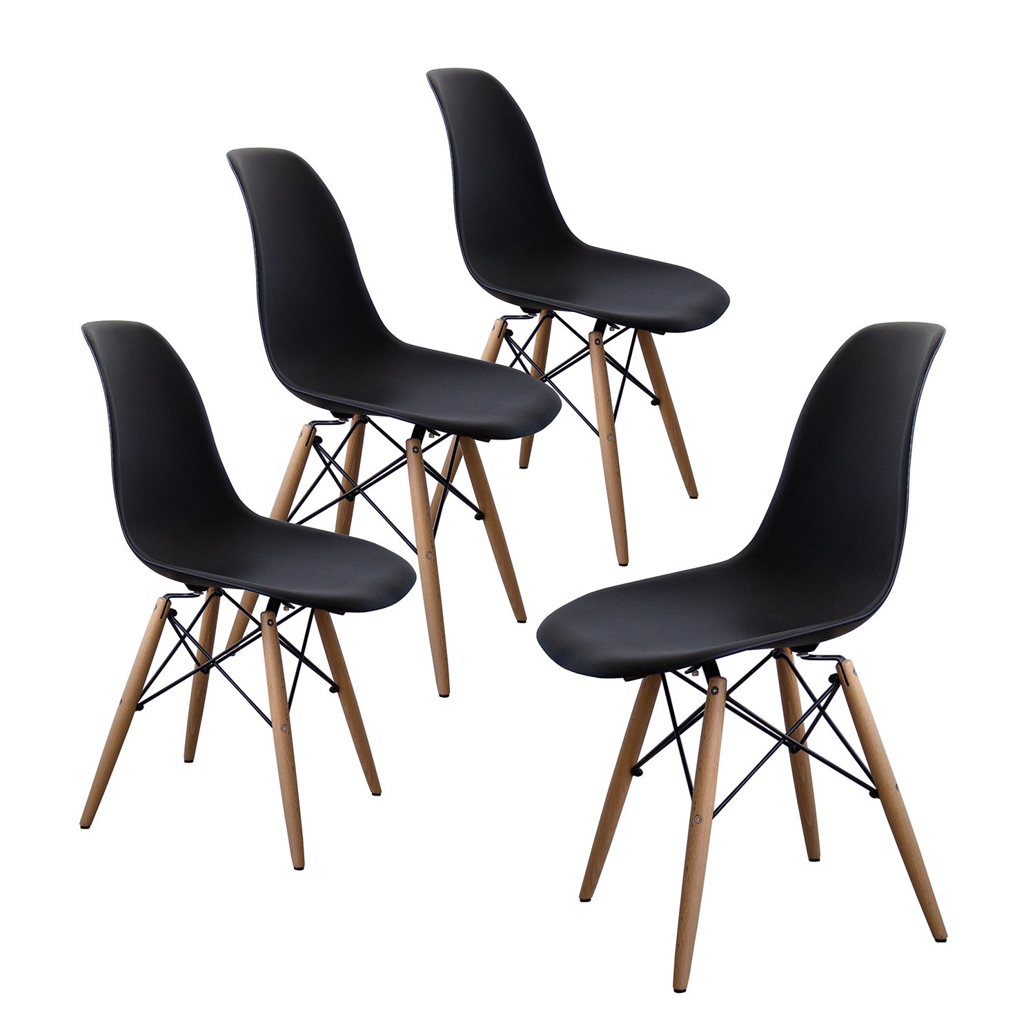 Buschman Set of Four Black Eames-Style Mid Century Modern Dining Room Wooden Legs Chairs