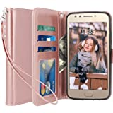 LK Case for Moto E4, [Wrist Strap] Luxury PU Leather Wallet Flip Protective Case Cover with Card Slots & Stand for Motorola Moto E (4th Generation) - Rose Gold