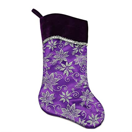 northlight 20 purple and silver glittered floral christmas stocking with shadow velveteen cuff - Purple Christmas Stocking