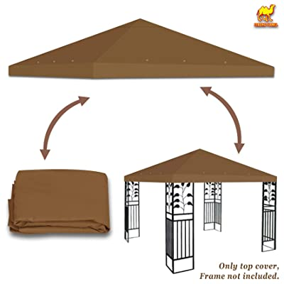 Stromg Camel 10' x 10' Canopy Top Cover Patio Pavilion Replacement Gazebo Top (Brown): Garden & Outdoor