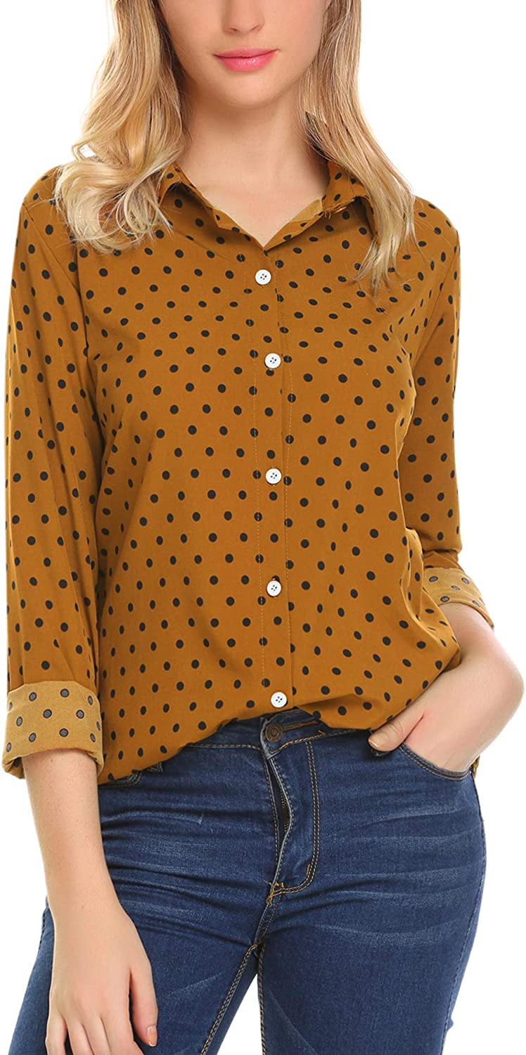 Zeagoo Women's Button Down Shirt Long Sleeve Collared Tops Chiffon Blouse for Women: Clothing