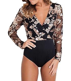 MASHIKOU body donna elegante Intimo V-collo Paillettes Manica Lunga  Bodysuit Maglia Blusa Camicie Leotard 853d280e9db