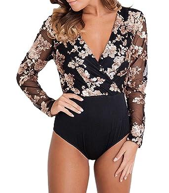 MASHIKOU Sexy Body Femme Été V Cou Paillettes Maille Manches Longues  Bodysuit Combinaisons Justaucorps Débardeur Top 5a38d1a3218