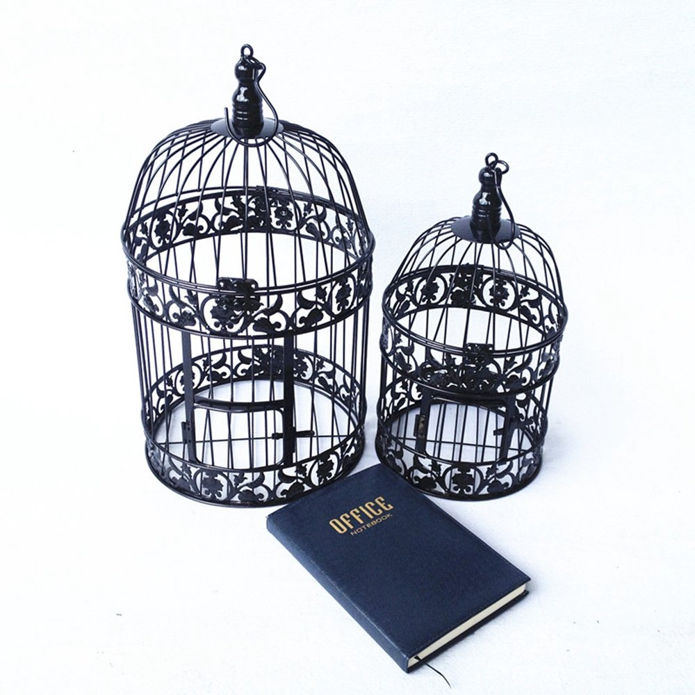 PET SHOW Round Birdcages Wedding Gift Cards Holder Metal Wall Hanging Bird Cage for Small Birds Party Indoor Ourdoor Decoration 10.6'' Black Pack of 1 by PET SHOW