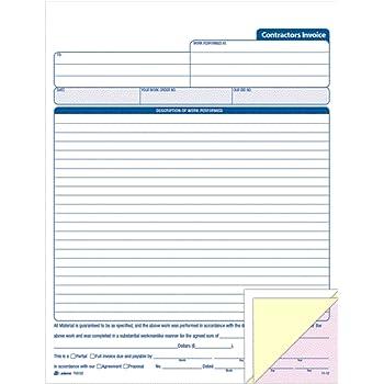 Amazoncom Adams Contractors Invoice Book X Inch - Invoice booklet