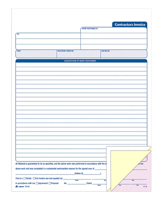 Adams Contractor\'s Invoice Book 8.38 x 11.44 Inch, 3-Part, Carbonless, 50 Sets, White, Canary, Pink (TC8122)