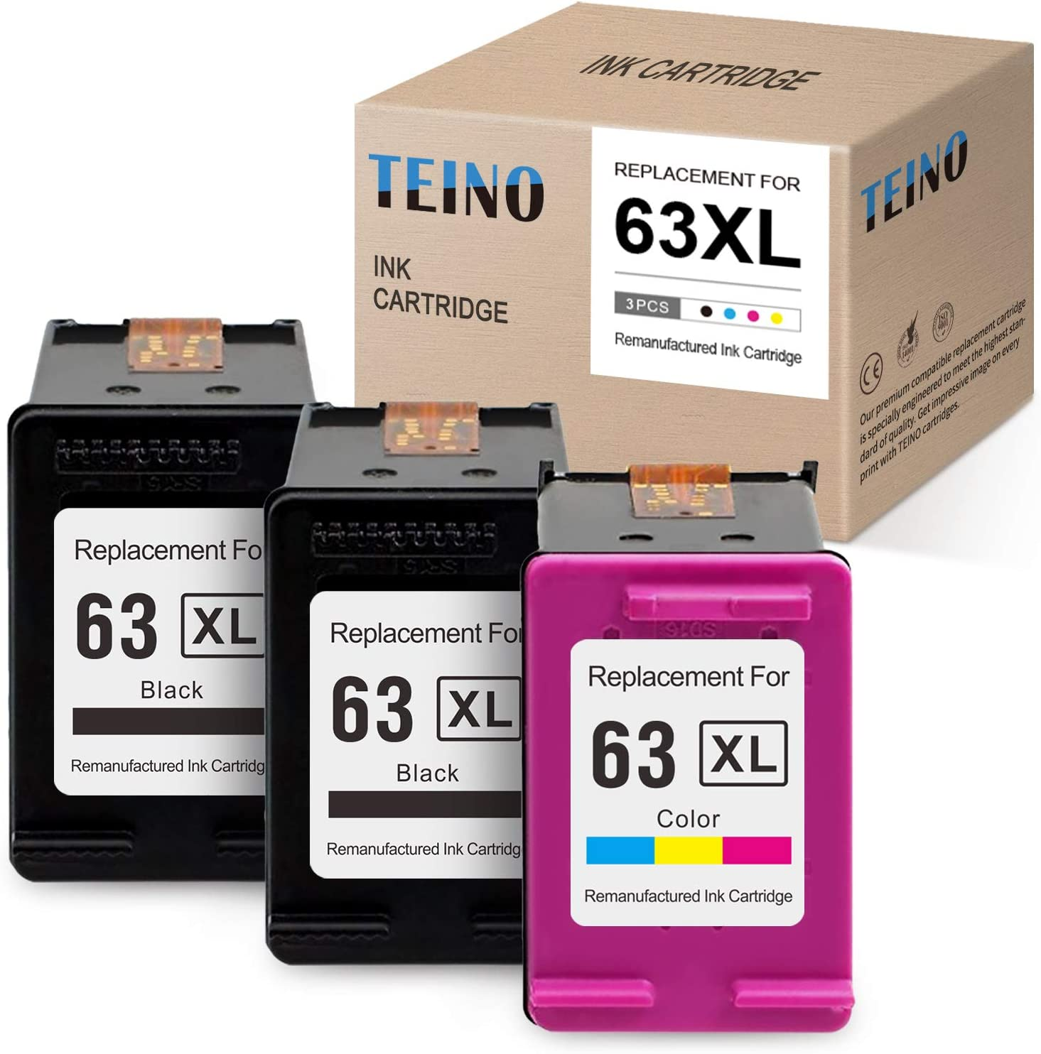 TEINO Remanufactured Ink Cartridge Replacement for HP 63XL 63 XL use with HP ENVY 4520 4512 4510 OfficeJet 4650 5255 3830 5258 5252 3833 4652 DeskJet 1112 2130 3630 3632 (2 Black, 1 Tri-color, 3-Pack)