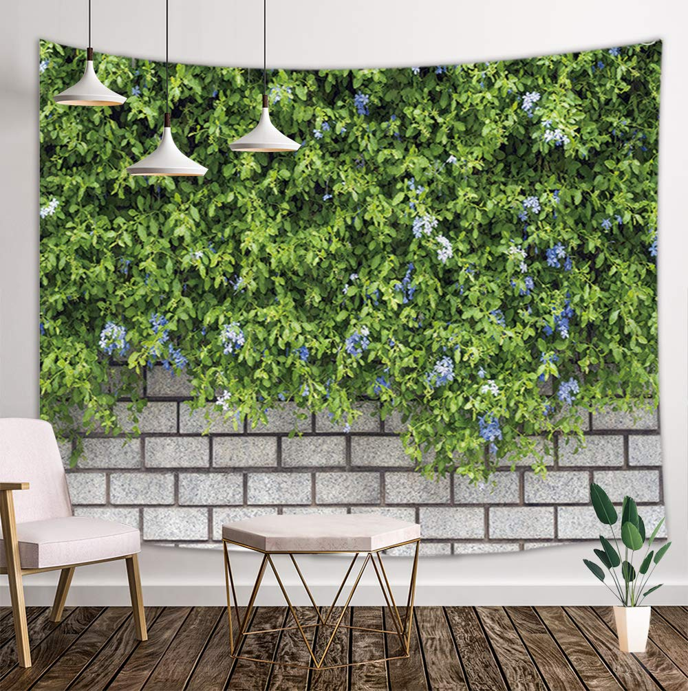 Spring Plant Tapestry Wall Hanging, Green Leaves with Flowers on Brick Wall for Kid Wall Tapestry Art, Tapestries for Home Decorations TV Backdrop Dorm Decor Living Room Bedroom, Beach Towel, 80''X60'' by NYMB