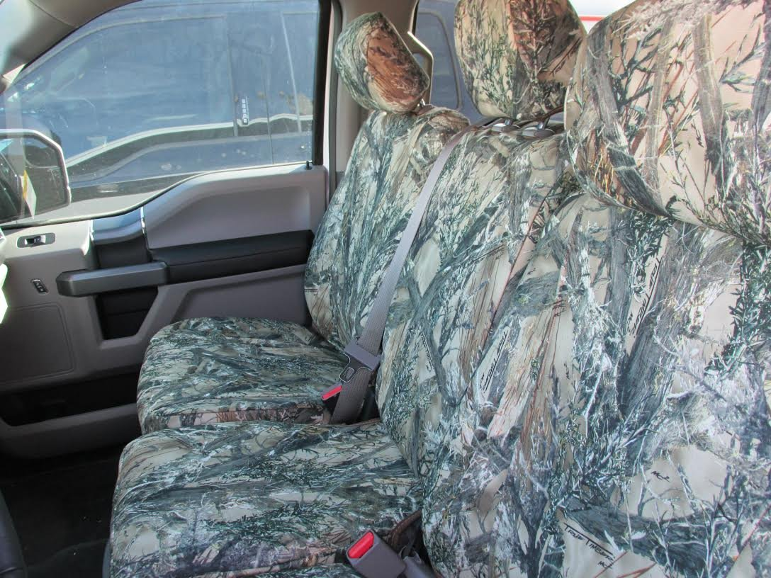 FD81 Seat Covers Made in MC2 Camo Velour for 2015-2016 Ford F150 Super Crew Front and Rear Seat Cover Set. Durafit Seat Covers