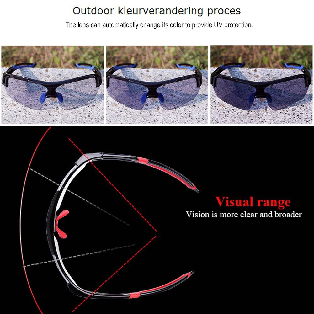 Tbest Gafas de Sol fotocromáticas Unisex, Protección UV a Prueba de Viento Gafas de Bicicleta Gafas de Seguridad fotocromáticas Polarizadas para Deporte al ...