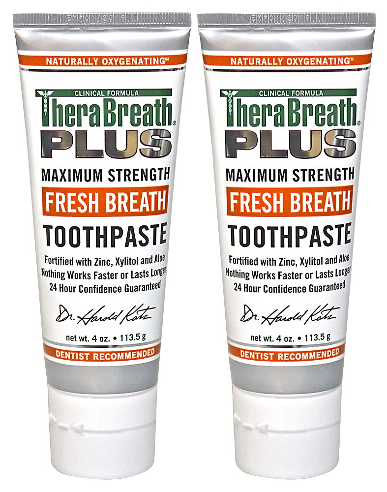 TheraBreath PLUS Professional Formula Fresh Breath Toothpaste - Extra Strength, 4 Ounce (Pack of 2)