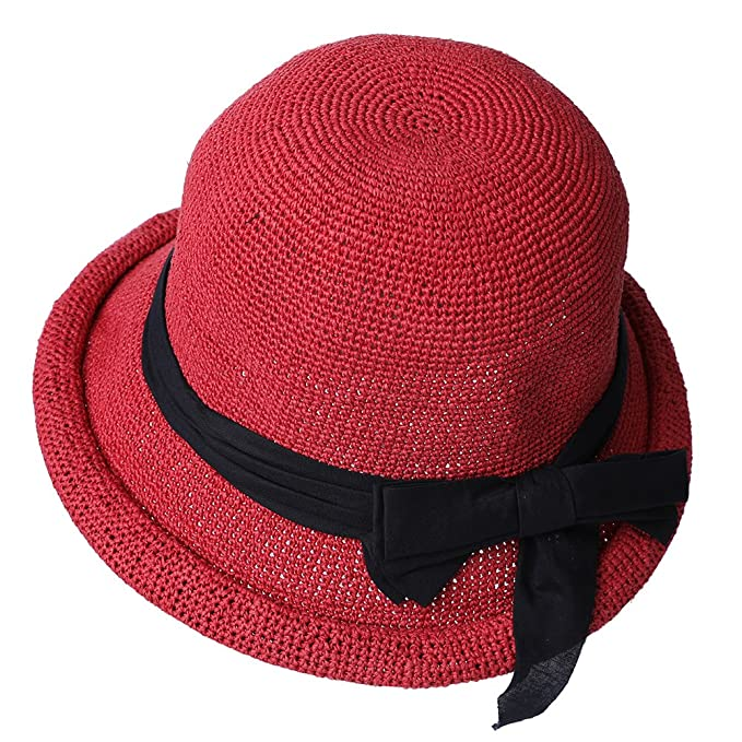 a618f4c5f75f4 Image Unavailable. Image not available for. Color  Siggi Womens Floppy Summer  Sun Beach Straw Hats UPF Packable Bucket Cloche Hat ...