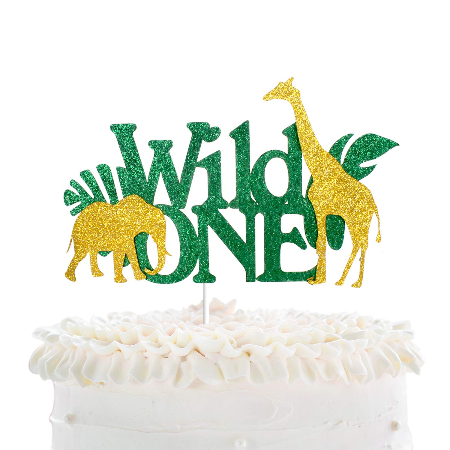 Wild One Birthday Cake Topper - Real Wild Child First Birthday - Smash Jungle Safari Animals Gifaffe Cake Décor - Baby Shower Welcome Baby Party Decoration