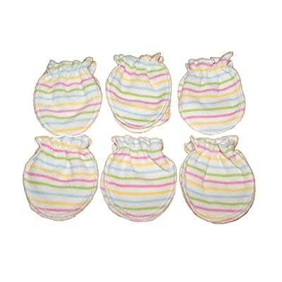 6 Pairs Cotton Newborn Baby/infant No Scratch Mittens Gloves - Stria