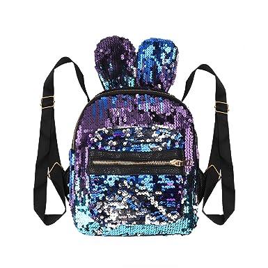 Alvivi Backpack Mochilas Escolares Chica Mochila con Lentejuelas Escolar Lona Bolsa Casual Para Chicas Backpack para Viaje Azul Un Tamaño: Amazon.es: Ropa y ...