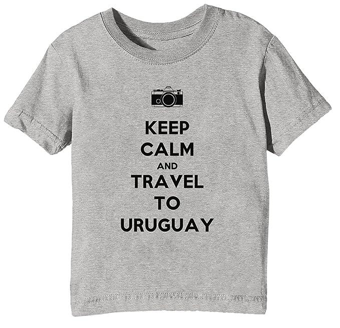 1d24d9d73 Erido Keep Calm and Travel To Uruguay Niños Unisexo Niño Niña Camiseta  Cuello Redondo Gris Manga