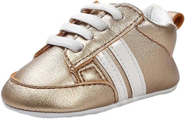 Kimloog Kids Baby Leather Sneaker Rubber Sole Non-Slip Running Shoes