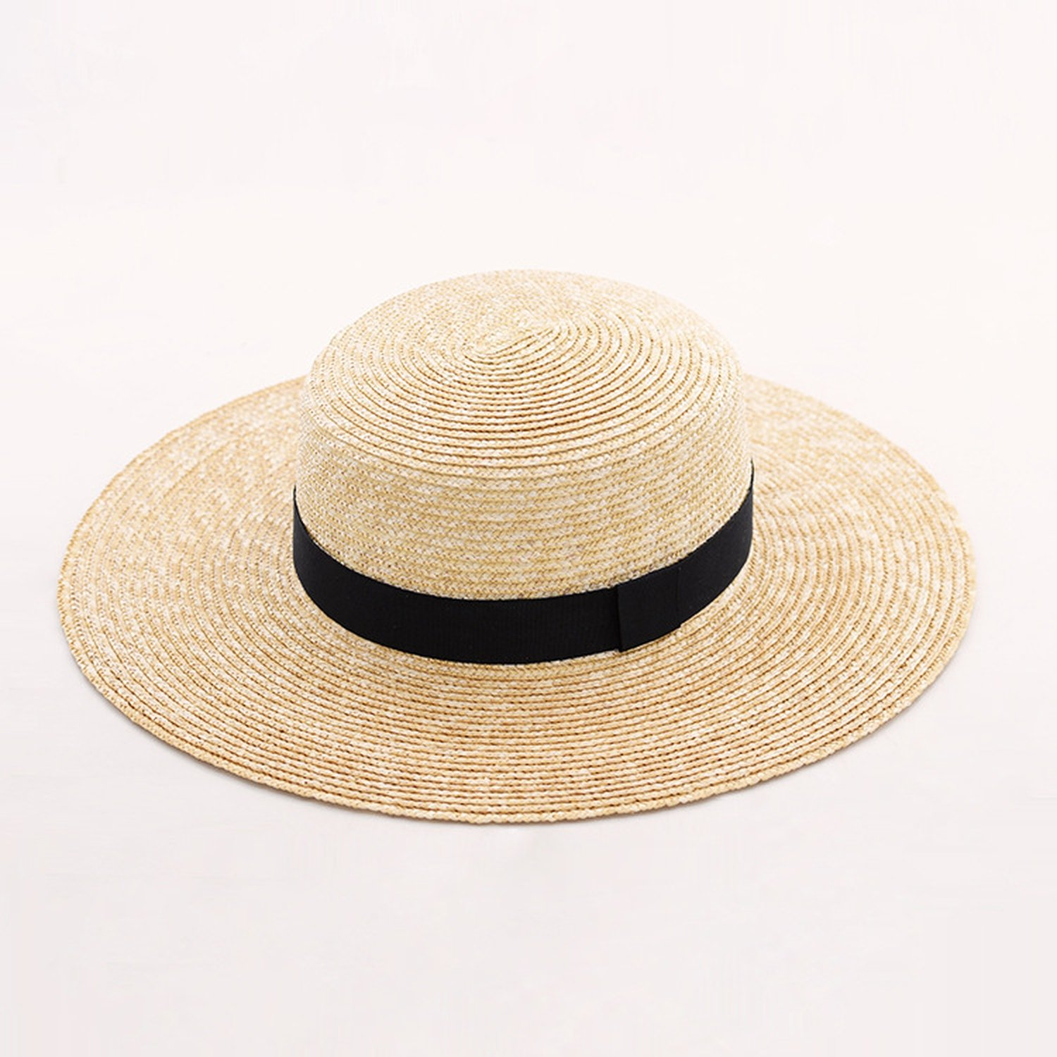 Hyunong natural straw flat straw hat Ms. spring and summer with a flat straw hat,0.6CM fine *10,M (56-58cm)