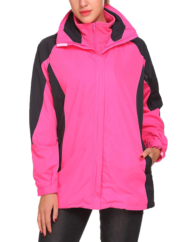 Tilloe Womens Outdoor 3-in-1 Waterproof Waterproof Skiing Snowboarding Jacket Fleece Warm Raincoat AMK007617