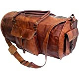 """Jaald 24"""" Leather Duffle Bag Travel Carry-on Luggage Overnight Gym Weekender Bag"""