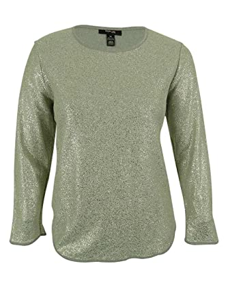 2eb09521993c50 Women's Foil Knit Long Sleeve Top at Amazon Women's Clothing store: