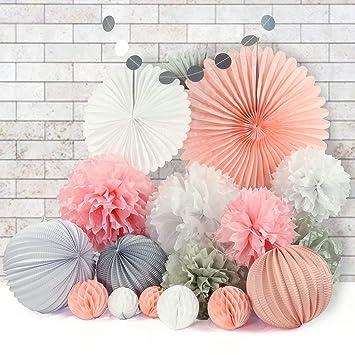 28er Set Seidenpapier Papier Pompoms Blumen Wabenballe Lampions
