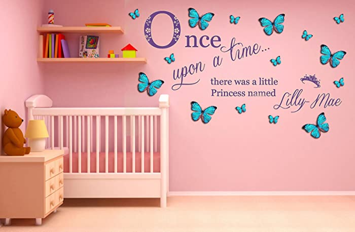 Personalizzata \'Once Upon a Time\' Princess. Adesivo murale in vinile ...