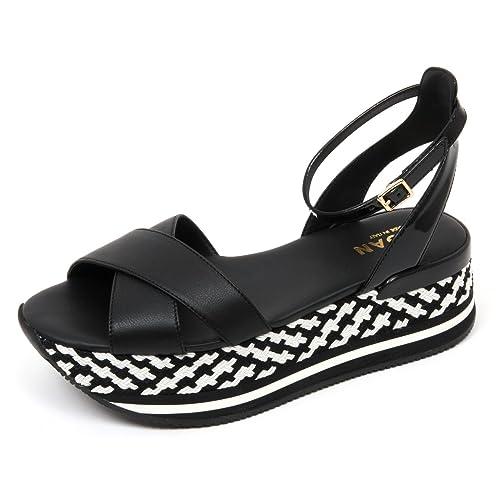 C8876 sandalo donna HOGAN fasce incrociate nero/bianco sandal shoe woman