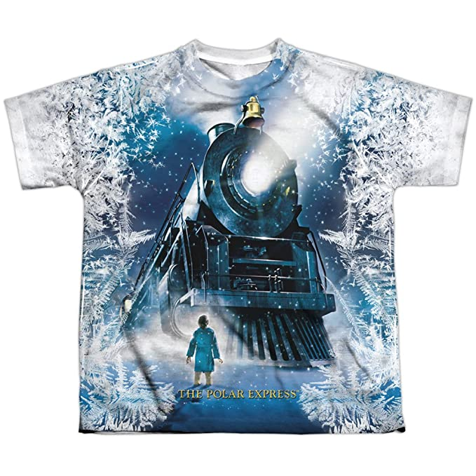 Polar Express Animated Fantasy Movie Train Poster Big Boys 2 Sided Print T Shirt