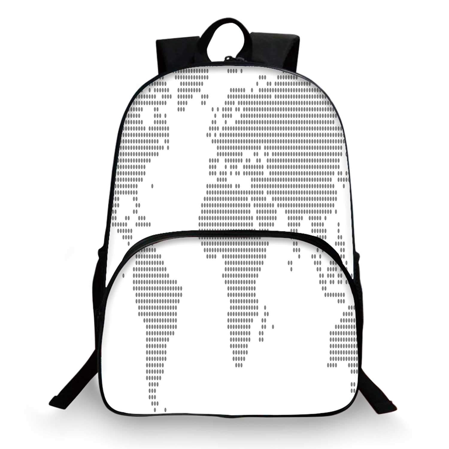 Map Various Schoolbag,World Map with Graphic Dots Pixelated Seem Spotted Continents Design Simple Modern Decorative for student,11''Lx6''Wx15''H by C COABALLA