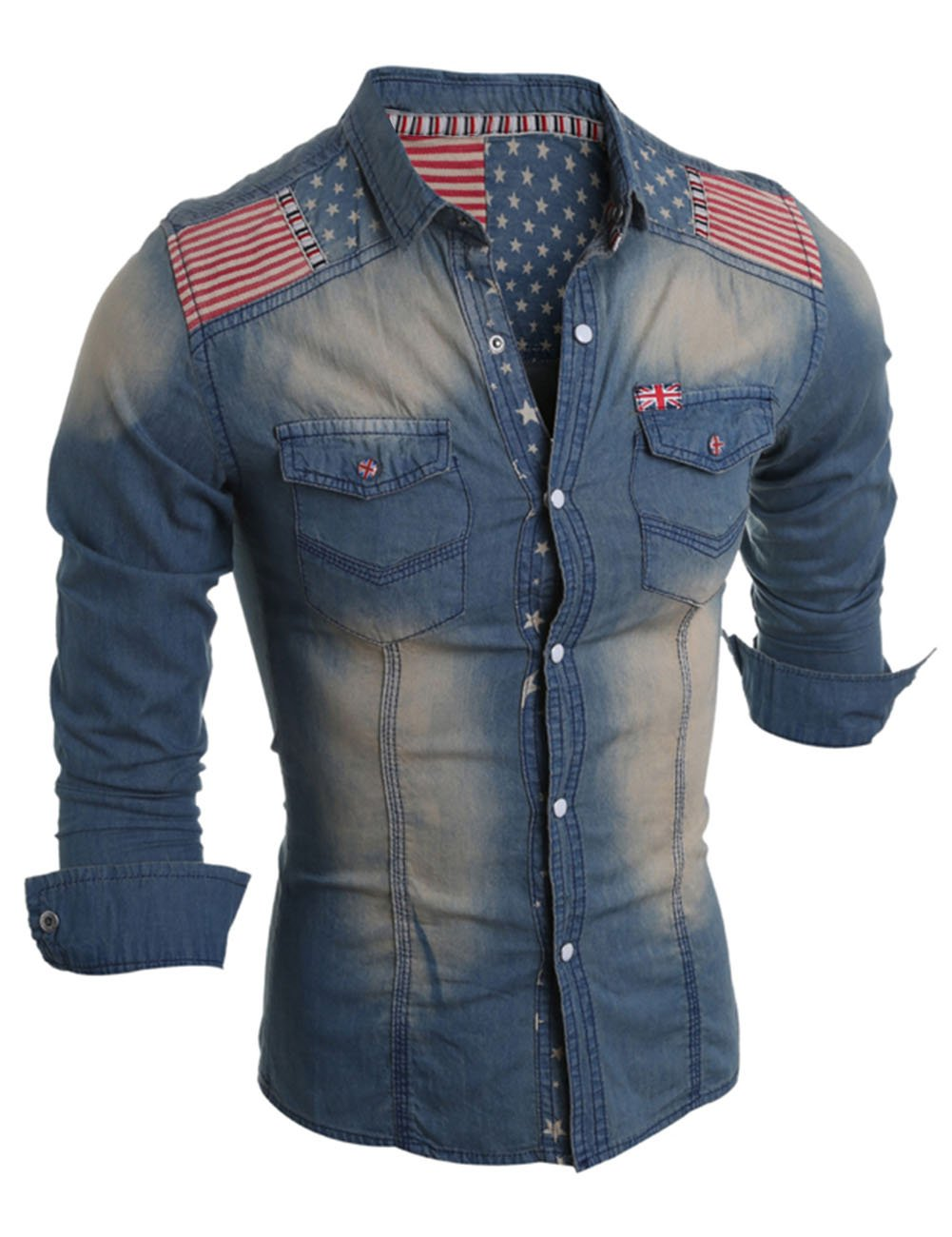 Men's The Union Flag Pattern Long Sleeve Jean Shirt Deep Blue L by YTQ (Image #1)