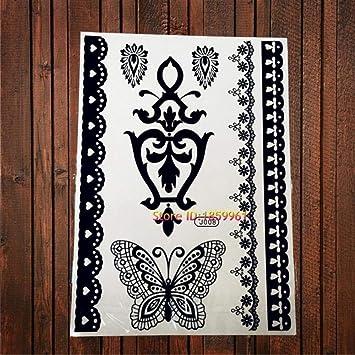 cac810bd54363 Amazon.com : 1PC Fashion Flash Waterproof Tattoo Women Black Ink Jewel Sexy  Lace Flower Pendant Wedding Temporary Tattoo (Abj008) : Beauty