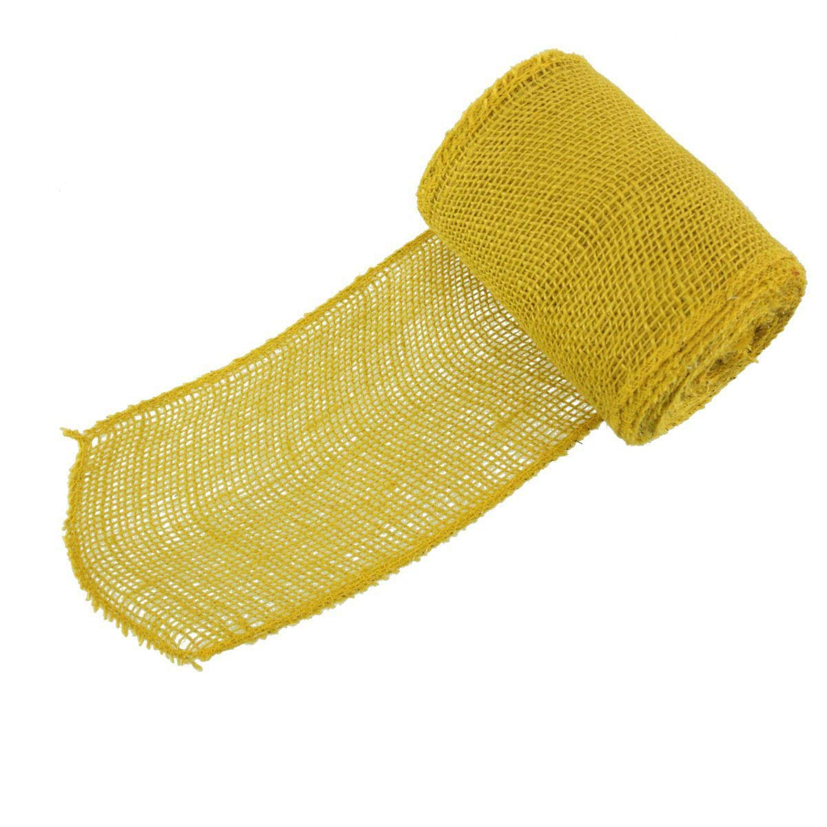 BambooMN 5.5'' Inch wide Color Burlap Fabric Hemp Jute Craft Ribbon Roll, 10 Rolls of 10 Yards, Straw Yellow by BambooMN