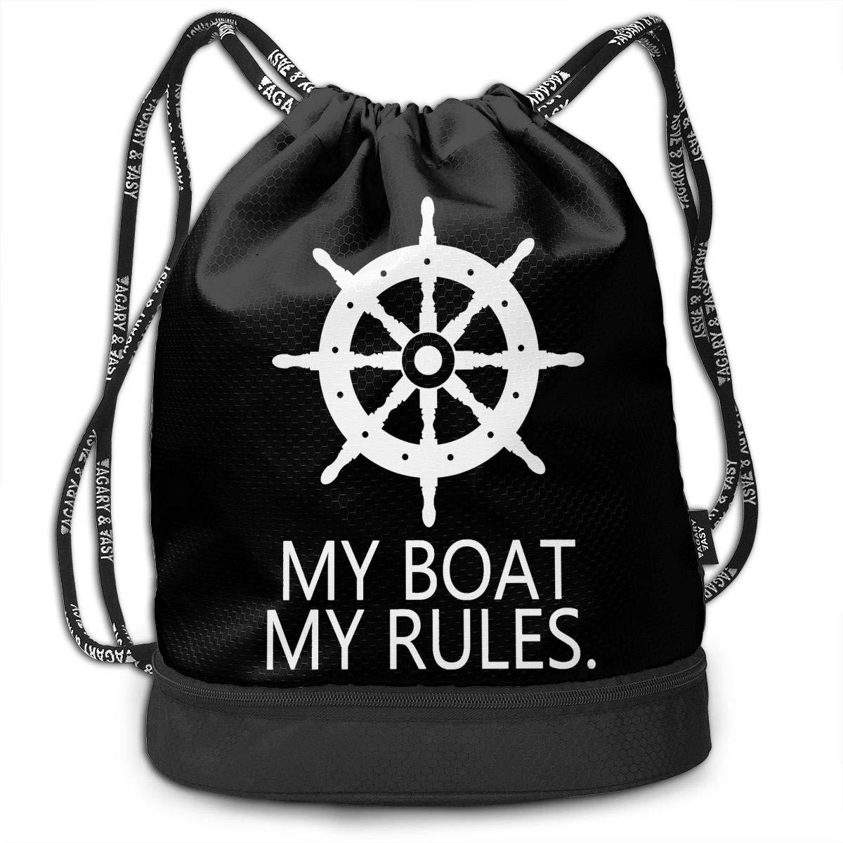 HFTIDBC My Boat My Rules ストリングバックパック シンチサック   B07KPTDB6D