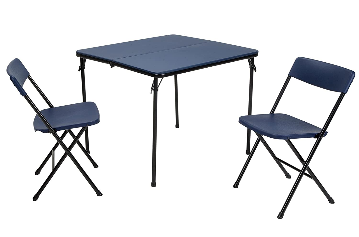 COSCO 3 Piece Indoor Outdoor Center Fold Table and 2 Chairs Tailgate Set, Dark Blue, Black Frame