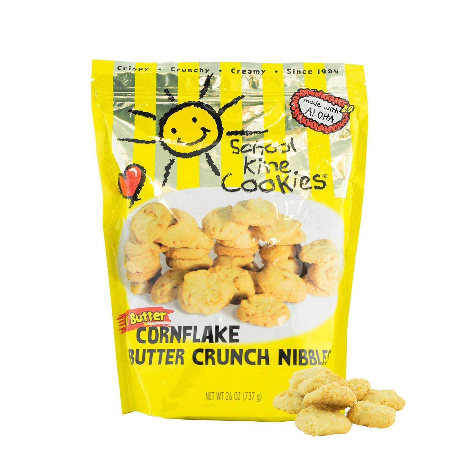 Hawaiian-style Butter Cookies, Bite-sized Cornflake Butter Crunch with Homemade Taste, Small Snacks For Kids and Adults, (26 oz) - School Kine Cookies