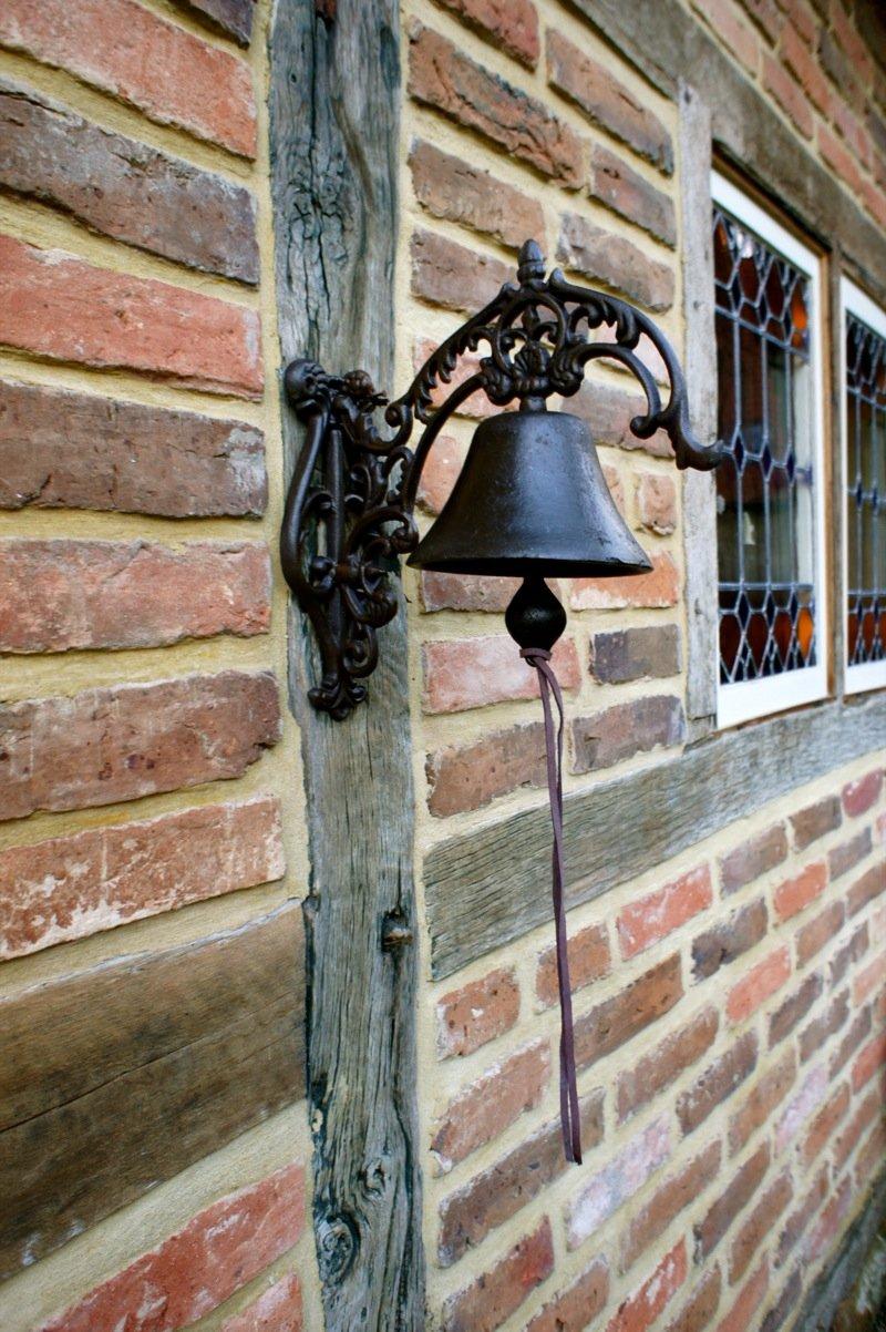 cloche de jardin style maison de campagne Cloche de porte avec joli Bras de fixation/ antikas/ /Superbe son /Cloche