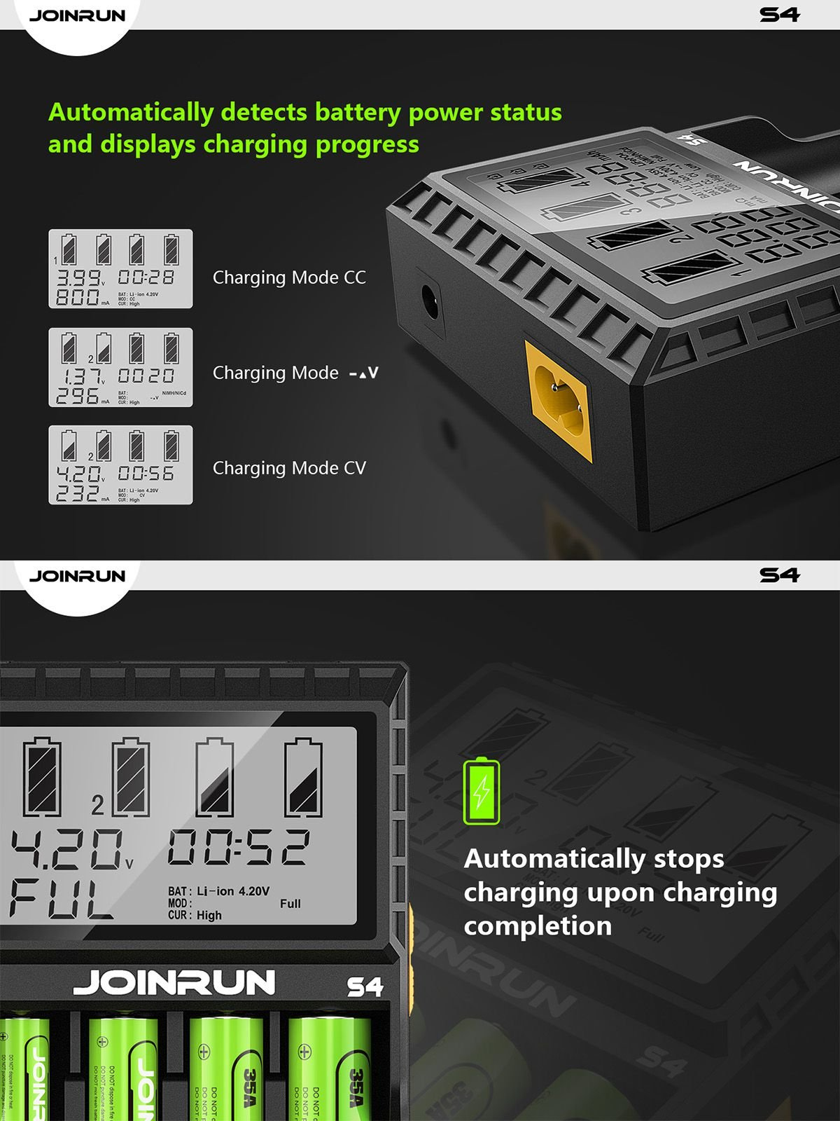 4-Slots LCD Display Universal Battery Charger for 3.7V Li-ion 10440 14500 14650 16340 17670 18500 18650 18700 22650 20700 21700 22700 25500 26650 26700 Batteries